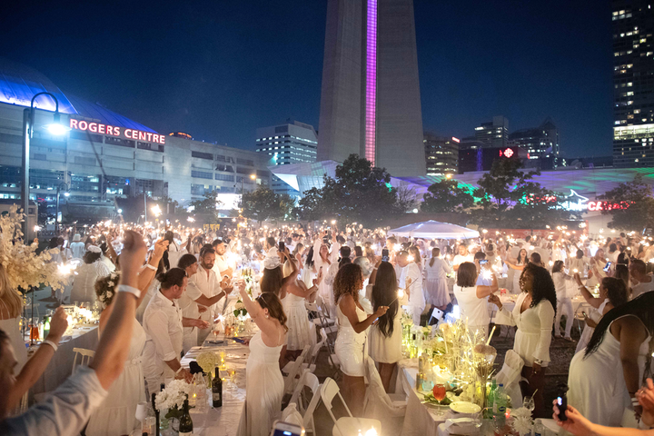 Toronto's eighth annual Diner en Blanc took place August 7 at Roundhouse Park and Steam Whistle Brewing.