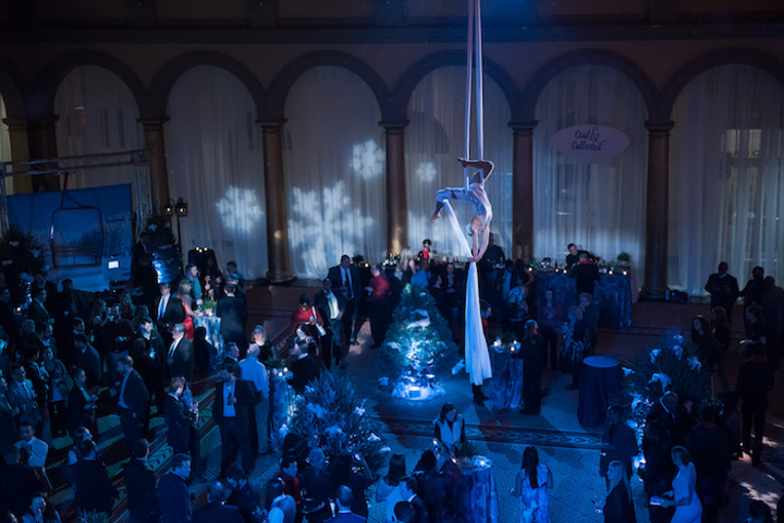 Corporate holiday party aerialist.