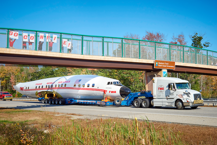 To promote the opening of the TWA Hotel, which opened at John F. Kennedy International Airport in May, a restored aircraft traveled 300 miles on the highway from Maine to J.F.K. in November 2018. The aircraft, a 116-foot-long Lockheed Constellation (nicknamed 'Connie'), was commissioned in 1939 by TWA owner Howard Hughes. See more: Why Was This Plane Riding Down the Highway?