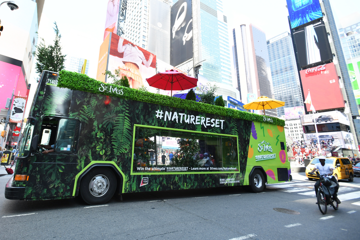 St. Ives launched an immersive mobile experience in July, which kicked off in New York and traveled to Chicago, Philadelphia, and Columbus, Ohio. Mosaic North America designed the tour's double-decker bus, which featured naturescapes inspired by ingredients in St. Ives Face Mists. See more: On the Road Again: How Brands Map Out Their Mobile Tours