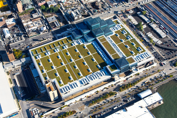 The green roof at the Javits Center in New York is home to bee hives, which will produce honey-infused products for Cultivated, the convention center's new dining and hospitality brand.