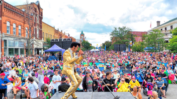 Collingwood, Ontario The world's largest annual gathering of Elvis tribute artists celebrated its 25th anniversary this year, attracting more than 25 professional impersonators and 16 returning champions to its competitive events. OLG, Enbridge, and Blue Mountain Resort were the main sponsors at the celebration of the life and times of Elvis Presley. Next: July 24-28, 2020