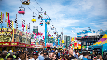 Toronto The Ex hosted a two-day Hippie Fest in 2019 to celebrate Woodstock's 50th anniversary and commemorated 70 years of the Canadian International Air Show with the return of Britain's renowned Red Arrows. About 1.5 million people attended, drawn by a strong Bandshell concert series, discounted weekday tickets after 5 p.m., fanciful foods, and the midway. Next: August 21-September 7, 2020
