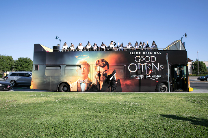 In April, Amazon Prime promoted its series Good Omens with an attention-grabbing stunt throughout Los Angeles. The Chattering Order of St. Beryl, a group of Satan-loving nuns featured in the original Good Omens novel, sung a cappella covers at tourist attractions. The nuns traveled in a bus wrapped in promotional imagery. The company partnered with creative production agency Tool for the stunt. See more: This Week in Los Angeles: a Choir of Satanic Nuns, a Balloon-Filled Kardashian Birthday, the Magic Castle's New Chef