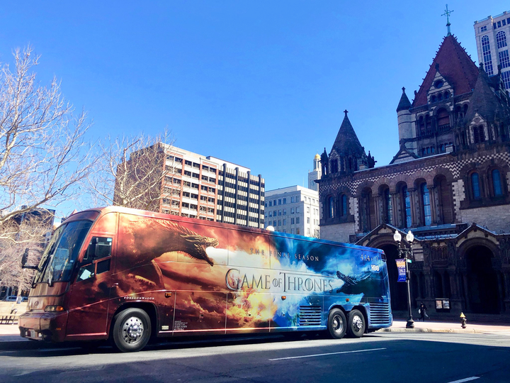 "HBO promoted the final season of Game of Thrones in April with multiple events and activations, including the ""Dragon Wagon,"" a charter bus wrapped in branded imagery of two dragons. At the AT&T flagship store in Boston, fans could enter to win a trip on the bus to the New York premiere of the final season. The bus wrap was designed by Lime Media. See more: Winter Is Here: See How HBO and Other Brands Are Celebrating the Final Season of 'Game of Thrones'"