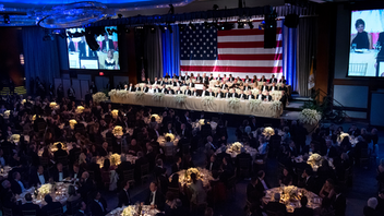 New to the list New York Held in New York for more than 70 years, this bipartisan white-tie fund-raiser is named for the country's first Roman Catholic presidential nominee. The 2018 dinner at the New York Hilton Midtown, which was attended by about 800 guests and raised $3.9 million for Catholic charities. Comedian Jim Gaffigan hosted, and the evening's keynote speaker was then-U.N. Ambassador Nikki Haley. Martin Short is set to emcee this year's dinner, and U.S. Secretary of Defense James Mattis will serve as keynote speaker. Next: October 17, 2019