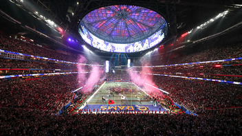 National More than 70,000 fans filled Mercedes-Benz Stadium in Atlanta to watch the New England Patriots defeat the Los Angeles Rams and claim their sixth N.F.L. title in Super Bowl LIII. Maroon 5 headlined the halftime show, which also included performances from Big Boi and Travis Scott. In addition to the game, a weeklong program of events drew more than 500,000 people to music shows, interactive fan festivals, and community events leading up to Super Bowl Sunday. Per the Nielsen ratings, 98.2 million people watched the broadcast. Next: February 2, 2020 See more: Super Bowl LIII: 27 Ways Brands Took Over Downtown Atlanta