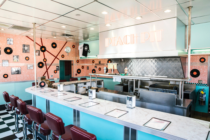 The Peach Pit pop-up on Melrose was initially developed by Fox and PopSugar to promote August's BH90210 premiere. Based on the success of its two-day run, CBS Consumer Products asked the Saved by the Max team to transform it into a fully functioning restaurant, open to the public through the end of this month.