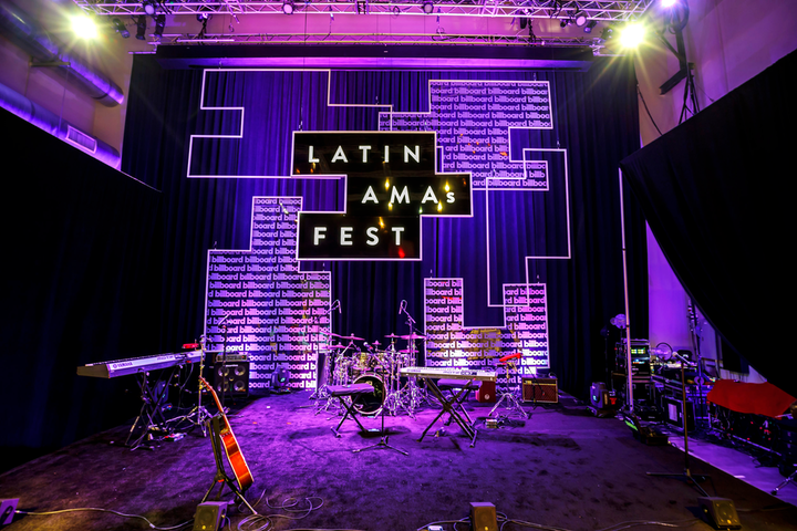 On October 15, Billboard Latin's AMA's Fest celebrated top Latin music executives at Neuehouse Hollywood, where a geometric, eye-catching stage hosted performances by Dalex and Feid. The event was designed and produced by Shiraz Creative, with fabrication by Stoelt Productions, furniture by FormDecor, and florals by Of the Flowers. 'The stage elements were a bit challenging [because] daytime panel discussions used the video screen for sessions,' explained Stoelt Productions' Matt Stoelt. 'We pre-hung everything the night before and early in the morning, and then we took it all down until the two-hour changeover later that afternoon.'
