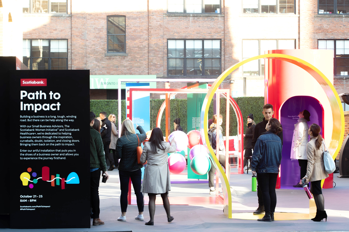 Scotiabank partnered with Narrative to create Path to Impact during Small Business Week. The design of the installation was inspired by urban playgrounds.