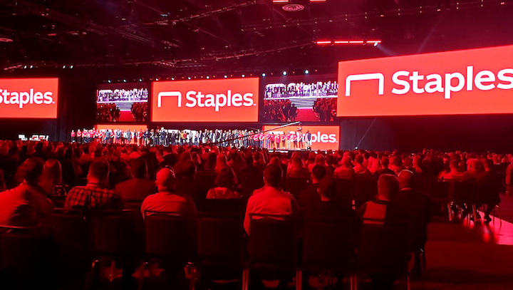 The sales conference drew 4,000 guests in person and an additional 1,000 remotely. The general session featured a 250-foot panoramic LED screen.