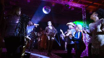 "With a ""Disco Inferno"" theme, this year's event drew some 300 guests and raised $65,000. Along with a presentation of the Leppen Leadership Awards, the evening featured cocktails, spirited live entertainment, and dancing to disco music. Many guests opted to don costumes, arriving in polyester suits, platform shoes, and wild wigs. Next: Spring 2020"