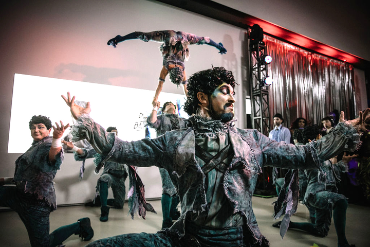 TIFF's Boombox Halloween bash invited guests to dress up as their favorite heroes and villains for a series of high-energy battles, including dance-offs, comedy roasts, stage performances, and costume contests. The evening featured a special performance by Cirque du Soleil.