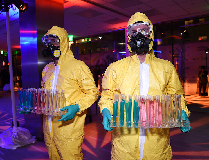 At the Los Angeles premiere for The Hot Zone, bartenders wore hazmat suits and served cocktails out of test tubes.