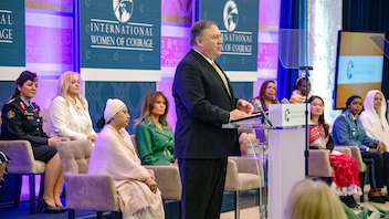Since 2007, the Secretary of State's International Women of Courage Award has honored more than 120 women who have exemplified outstanding courage and leadership. Secretary of State Mike Pompeo hosted 2019's edition, which was supplemented by remarks from first lady Melania Trump. Among this year's nominees were Razia Sultana of Bangladesh, Naw K'nyaw Paw of Burma, Moumina Houssein Darar of Djibouti, Mama Maggie of Egypt, Colonel Khalida Khalaf Hanna al-Twal of Jordan, Sister Orla Treacy of Ireland, Olivera Lakic of Montenegro, Flor de Maria Vega Zapata of Peru, Marini de Livera of Sri Lanka and Anna Aloys Henga of Tanzania. Next: March 2020