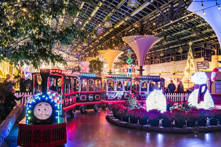 Christmas Glow Toronto, an 80,000-square-foot indoor market, opened at the Toronto Congress Centre in Etobicoke last week. The space features the 'Glen the Glow-comotive' holiday train, which runs every 30 minutes.