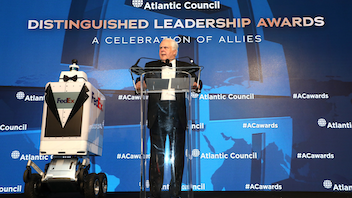 Each year, the Atlantic Council honors four leaders at its annual awards dinner. In 2019, awards were presented to NATO, Adrienne Arsht (philanthropist and the council's executive vice chair), Christine Lagarde (president of the European Central Bank and managing director of the International Monetary Fund), and FedEx chairman and C.E.O. Frederick W. Smith. Next: Fall 2020