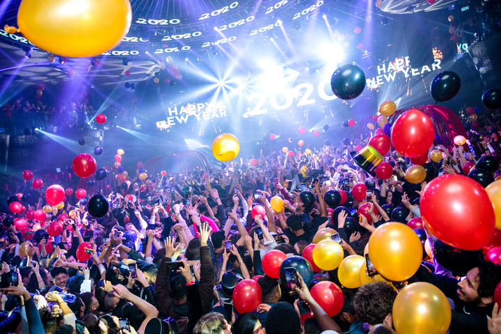 Rebel celebrated New Year's Eve with three dance floors and live DJs, plus a balloon, fog, and confetti display at midnight.