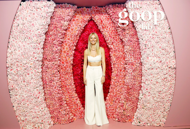 On January 22 at the Netflix Home Theater in Hollywood, Gwyneth Paltrow and members of the Goop Lab team celebrated their new Netflix show, which premieres today. At the event, which was produced by Agenc, guests posed in front of a blooming floral wall resembling a vulva created by the Petal Workshop.