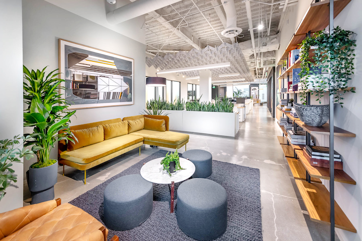 At NVE Experience Agency's airy new West Hollywood headquarters, an on-site library offers couches and books on leadership, marketing, design, and culture.