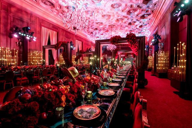 """The dining room—which Friedland called the """"hero"""" of the event—had two long dining tables, each with 80 seats. """"Like a painter would create his canvas, I started thinking about the different elements [I wanted to] incorporate,"""" he said. """"I approach events very much like a painting. It becomes a layered-type of growing experience.'"""