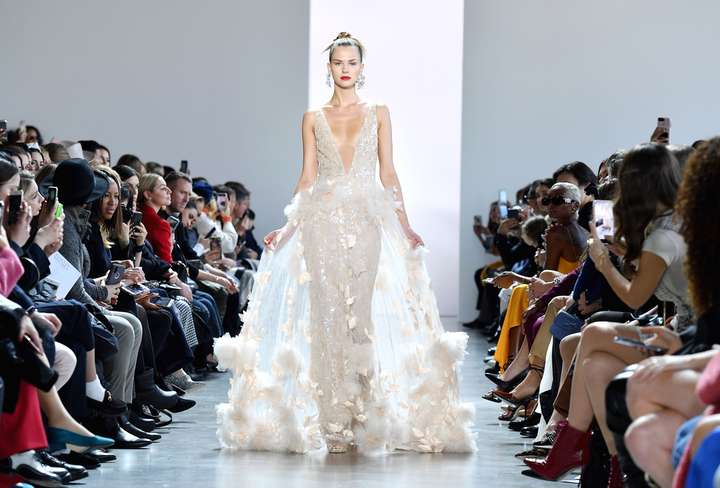A model walks the runway during the Badgley Mischka show in February.