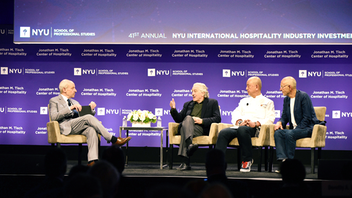 The latest trends, economic influences, and forecasted projections drive the agenda at the N.Y.U. International Hospitality Industry Investment Conference, for which 2,400 attendees gathered at the New York Marriott Marquis in 2019. One of the year's highlights came during a Beyond the Boardroom session, where conference chair Jonathan M. Tisch of Loews Hotels led a discussion with Nobu executives Robert De Niro, chef Nobu Matsuhisa, and Meir Teper. Proceeds from the conference fund student scholarships. Next: May 31-June 2, 2020
