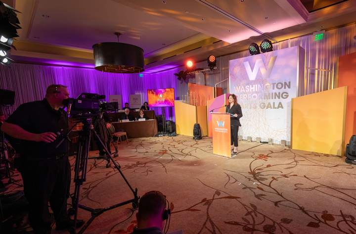 Decor partner Syzygy scaled down the main stage set for the virtual version of the Washington Performing Arts gala.