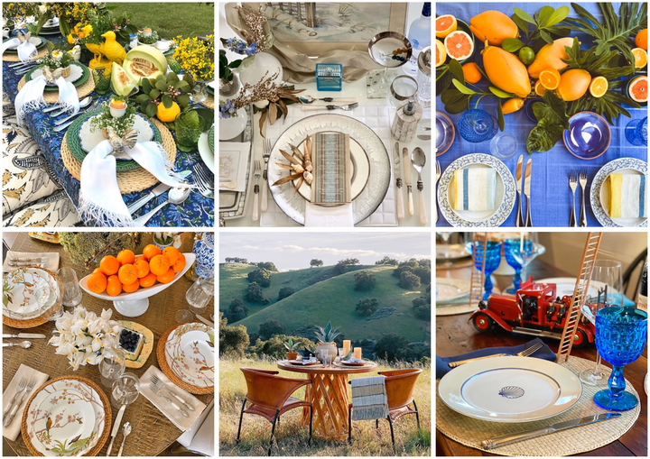 A selection of tabletop designs from the #DreamersAlwaysDream challenge on Instagram. Clockwise from top left: Mindy Rice Floral and Event Design, Ed Libby & Co. Events, Robbins Otoya Destinations, Bryan Rafanelli, Jose Villa and Joel Serrato, and Rishi Patel.