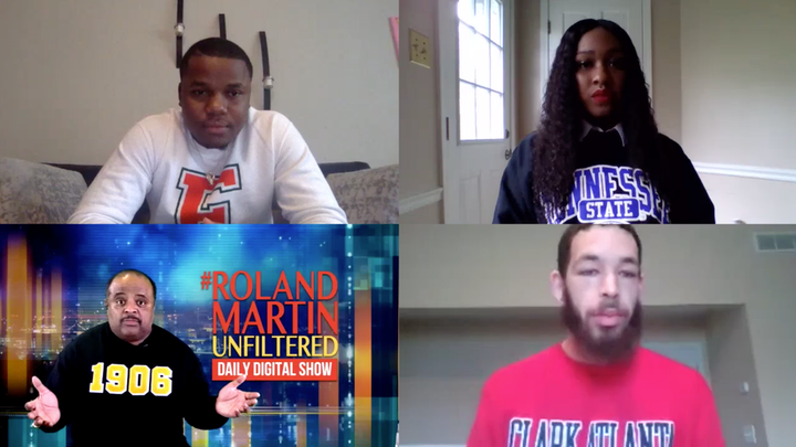 Journalist Roland Martin chatted with student government presidents from historically black colleges and universities (HBCUs) around the country to learn how their student bodies are dealing with the COVID-19 shutdowns. All attendees were encouraged to wear shirts representing their schools.