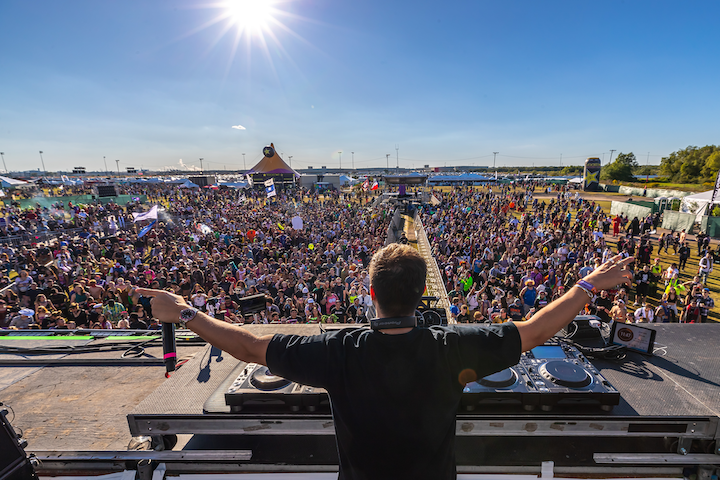 A crowd gathers at the Freaky Deaky Texas festival, held at the Houston Raceway October 26 and 27, 2019.