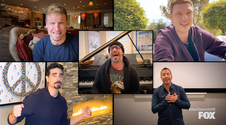 """The Backstreet Boys performed """"I Want It That Way"""" from five different locations across the country for """"Fox Presents the iHeart Living Room Concert for America."""""""