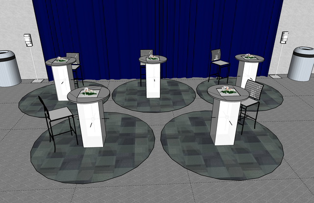 For dining, consider giving each guest a smaller round table, and use markings on the floor—such as a six-foot round carpet or vinyl appliqué—to keep attendees from gathering too closely.