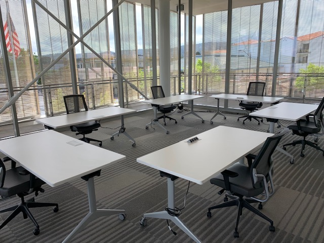 The Monterey Conference Center plans to use table configurations and signage to encourage physical distancing, such as signs marking one-way entrances and exits.