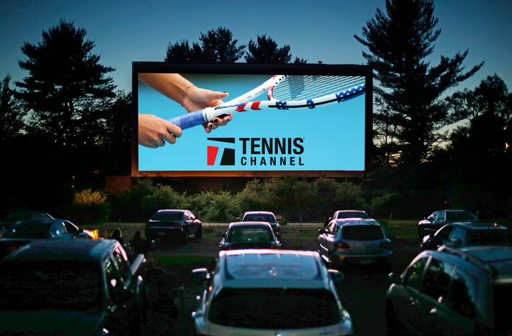 A mock-up of Tennis Channel's drive-in event, which kicked off the Credit One Bank Invitational on June 23.