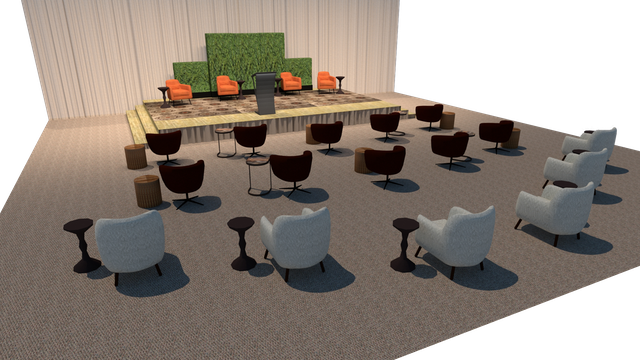 For conferences, CORT suggests giving guests individual chairs and tables. 'Think of this as their 'owned space' for the duration of the conference—that way you don't have to worry about disinfecting it at the end of each night,' says Scafide.