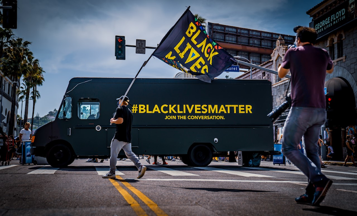 The Conversation Truck is a mobile DJ booth that has become a fixture at demonstrations throughout Los Angeles.