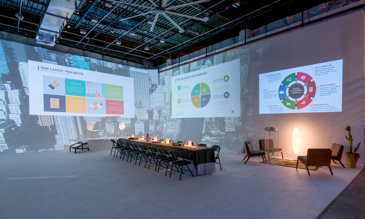 A unique option for hybrid events is Lytehouse Studio in Brooklyn. The 7,000-square-foot venue offers a variety of tech-forward ways to fuse live and virtual audiences, including a 360-degree, immersive Cyclorama stage, plus high-speed livestreaming options, professional lighting packages, and more. Additional event spaces include a lounge, a private patio, and a rooftop.
