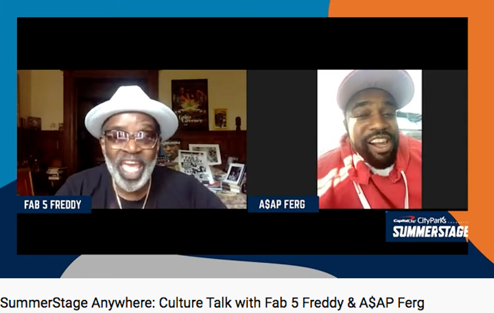On July, 10, as part of SummerStage Anywhere, Fab 5 Freddy And A$AP Ferg discussed their processes in creating music that reflects and amplifies racial inequalities.