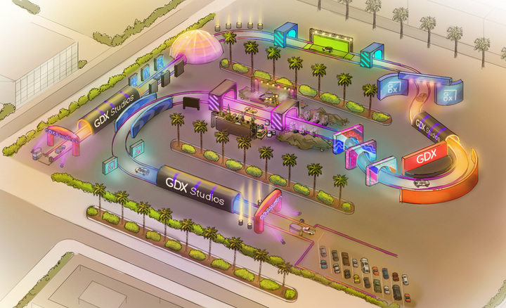 As cars drive through the activation, they'd encounter art installations, photo ops, branded signage and decor, retail displays, and more. The concept could be scaled up and down depending on a brand's budget and goals.