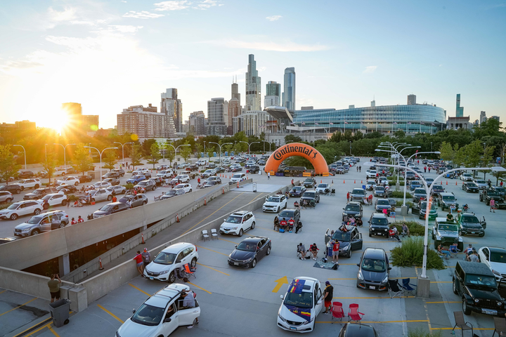 """During the MLS is Back Tournament, Chicago Fire FC and Continental Tire hosted their """"Drive-In Matchday"""" watch party on July 19."""