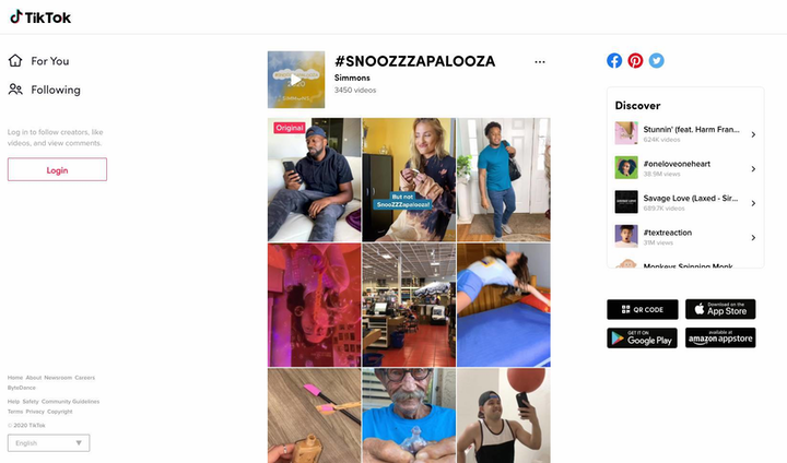 Mattress brand Simmons recently hosted #Snoozzzapalooza, a six-day hashtag challenge on TikTok.
