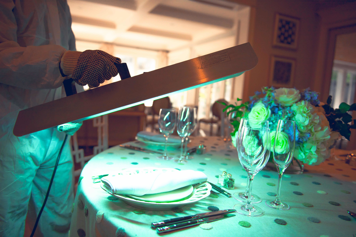 As part of Perfect Settings' new menu of sanitation-focused offerings, hand-held decontamination wands can be rented for cleaning surfaces such as countertops, seats, bars, tables, and more.