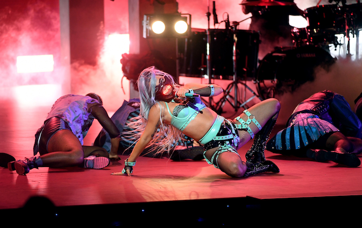 Lady Gaga performed songs from her new album while wearing a sound-reactive mask at the 2020 MTV VMAs.