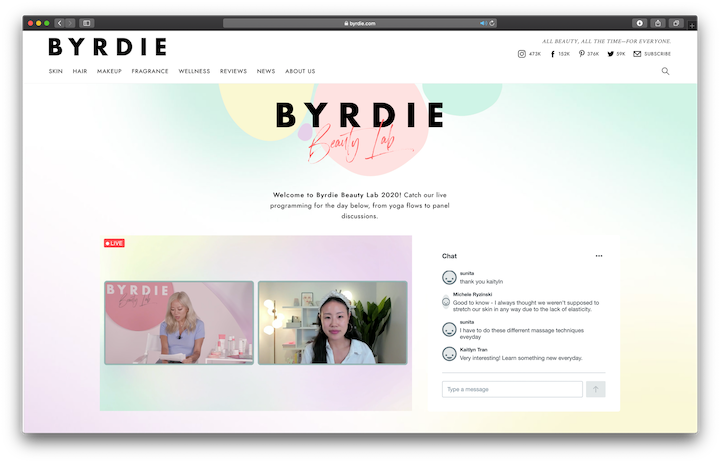 This year's Byrdie Beauty Lab was transformed into a virtual experience with panel discussions and tutorials.