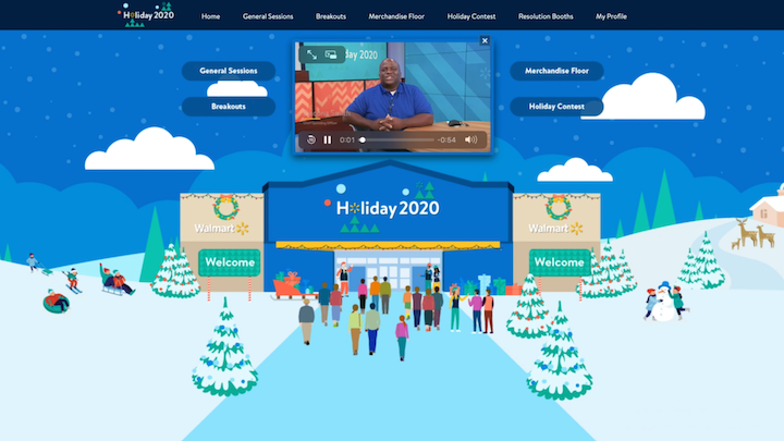 Walmart's annual U.S. Holiday Meeting included general sessions, breakouts, and an interactive virtual merchandise floor with videos of merchants talking about key products.