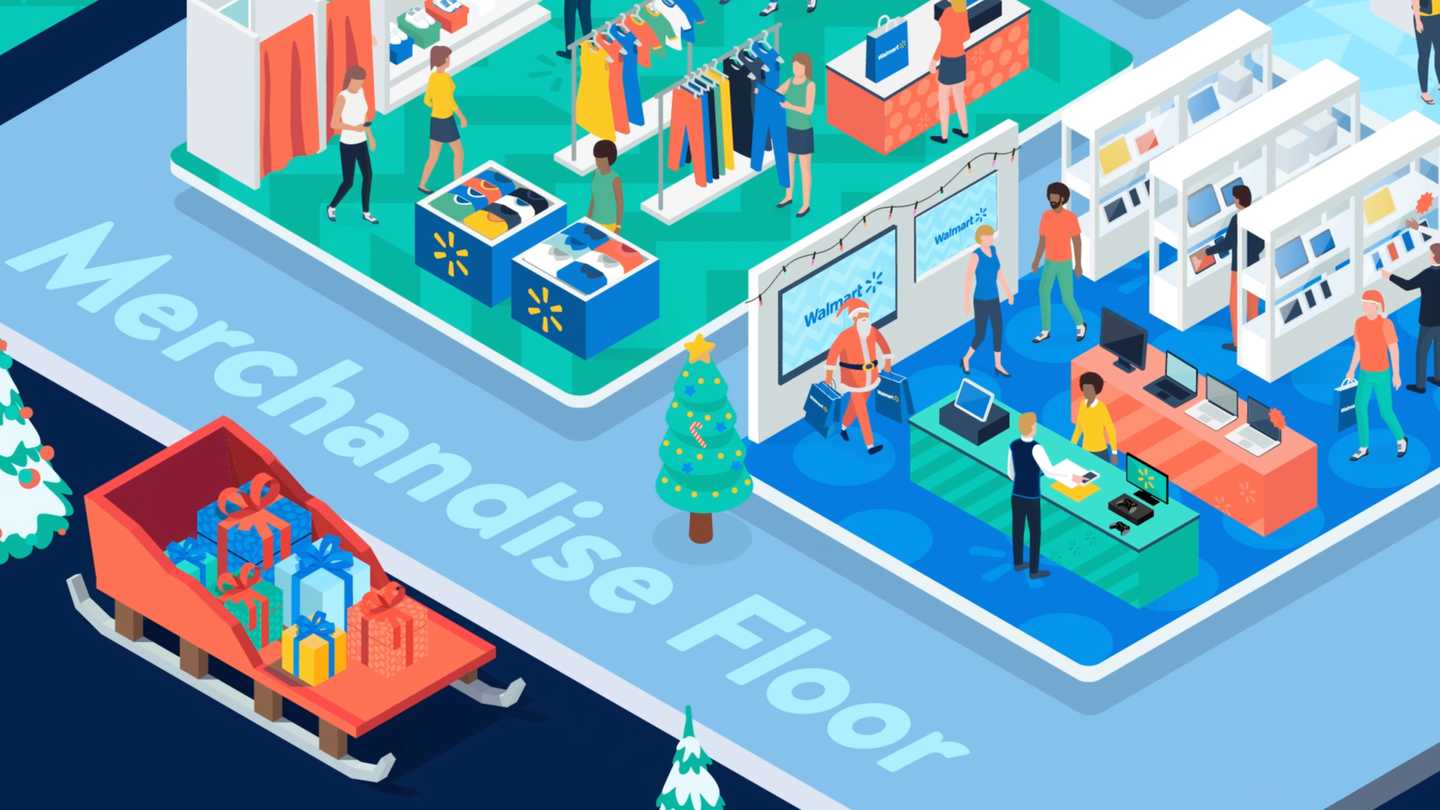 """At Walmart's annual U.S. Holiday Meeting, a virtual """"merchandise floor"""" was segmented by product type and filled with booths. Attendees could click on the various booths to see prerecorded videos with more information."""