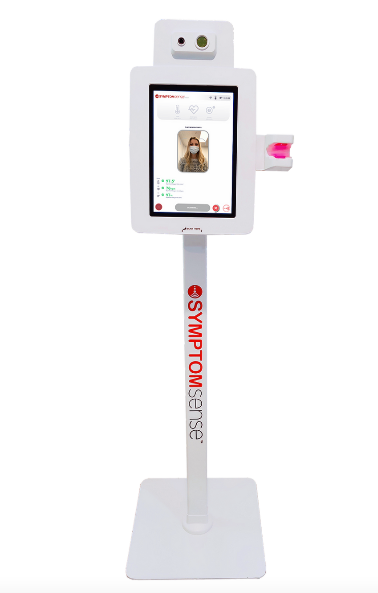The SymptomSense kiosk uses a table that can be floor-standing, wall-mounted or placed on a tabletop.